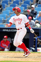 Reading Phillies third baseman Carlos Rivero #12 at bat during a game against the New Hampshire Fisher Cats at FirstEnergy Stadium on May 5, 2011 in Reading, Pennsylvania.  New Hampshire defeated Reading by the score of 10-5.  Photo By Mike Janes/Four Seam Images