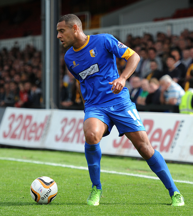 Mansfield Town's Ben Hutchinson in action during todays match  <br /> <br /> (Photo by Ashley Crowden/CameraSport)<br /> <br /> Football - The Football League Sky Bet League Two - Newport County v Mansfield Town - Saturday 7th September 2013 - Rodney Parade - Newport<br /> <br /> &copy; CameraSport - 43 Linden Ave. Countesthorpe. Leicester. England. LE8 5PG - Tel: +44 (0) 116 277 4147 - admin@camerasport.com - www.camerasport.com