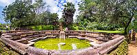 Polonnaruwa Ancient City, panoramic photo of tourists at the Bathing Pool (Kumara Pokuna) of Parakramabahu's Royal Palace, Sri Lanka, Asia. This is a panoramic photo of tourists at the Bathing Pool (Kumara Pokuna) of Parakramabahu's Royal Palace at the Polonnaruwa Ancient City in Sri Lanka, Asia.