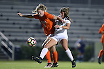 15 October 2016: Virginia's Taylor Ziemer (9) and Duke's Olivia Erlbeck (right). The Duke University Blue Devils hosted the University of Virginia Cavaliers at Koskinen Stadium in Durham, North Carolina in a 2016 NCAA Division I Women's Soccer match. Duke won the game 1-0.