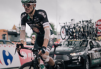 a heavily taped in Rafał Majka (POL/BORA-hansgrohe) crosses the top of the final HC climb of the day: the Mont du Chat (HC/8.7km/10.3%) with more than an halfhour delay on the stage leaders<br /> <br /> 104th Tour de France 2017<br /> Stage 9 - Nantua › Chambéry (181km)