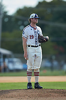 High Point-Thomasville HiToms starting pitcher Shane Smith (19) (Wake Forest) looks to his catcher for the sign against the Martinsville Mustangs at Finch Field on July 26, 2020 in Thomasville, NC.  The HiToms defeated the Mustangs 8-5. (Brian Westerholt/Four Seam Images)