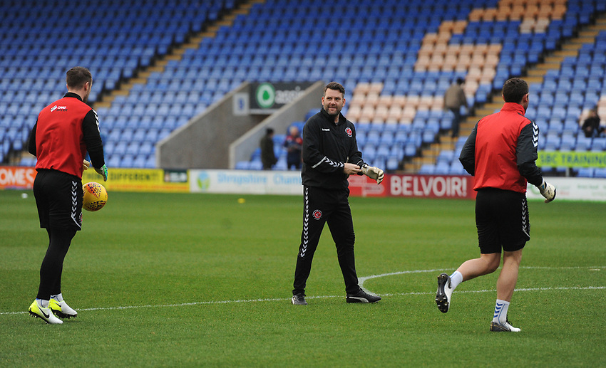 Fleetwood Town Goalkeeping Coach David Lucas during the pre-match warm-up <br /> <br /> Photographer Kevin Barnes/CameraSport<br /> <br /> The EFL Sky Bet League One - Shrewsbury Town v Fleetwood Town - Tuesday 1st January 2019 - New Meadow - Shrewsbury<br /> <br /> World Copyright © 2019 CameraSport. All rights reserved. 43 Linden Ave. Countesthorpe. Leicester. England. LE8 5PG - Tel: +44 (0) 116 277 4147 - admin@camerasport.com - www.camerasport.com