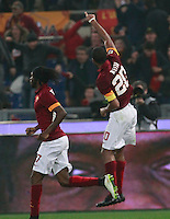 Seydou Keita  celebrates after scoring during the Italian Serie A soccer match between   AS Roma and Juventus FC       at Olympic Stadium      in Rome ,March 02 , 2015