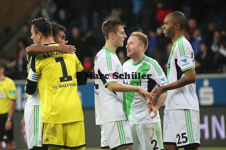 Siegesjubel VfL Wolfsburg mit Patrick Ochs - Eintracht Frankfurt vs. VfL Wolfsburg, Commerzbank Arena