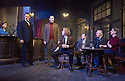 Hangmen by Martin McDonagh, directed by Matthew Dunster. With Sally Rogers as Alice,  David Morrissey as Harry[SUIT BOW TIE] Opens at The Royal Court Jerwood Theatre Downstairs on 18/9/15. CREDIT Geraint Lewis