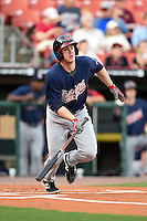 Gwinnett Braves outfielder Todd Cunningham (20) at bat during a game against the Buffalo Bisons on May 13, 2014 at Coca-Cola Field in Buffalo, New  York.  Gwinnett defeated Buffalo 3-2.  (Mike Janes/Four Seam Images)