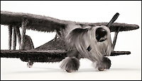 BNPS.co.uk (01202 558833)<br /> Pic: INK/BNPS<br /> <br /> *** Please use full byline***<br /> <br /> Dogfighters...<br /> <br /> German WW1 fighter camoflaged as a Schnauzer...<br /> <br /> A design studio has launched its own dogs of war - by cleverly blending iconic Second World War planes with their canine counterparts.<br /> <br /> London-based INK created the impressive images by pairing a Spitfire with a Beagle, a Golden Retriever with a Wellington Bomber and a Schnauzer with a German bi-plane.<br /> <br /> The intricate 3D drawings re-imagine key aspects from each plane into recognisable dog features.<br /> <br /> The cockpits are transformed into furry eyebrows while the propellers become unmistakable wet noses.<br /> <br /> The Dogfighters series will be sold online as a series of limited edition prints.