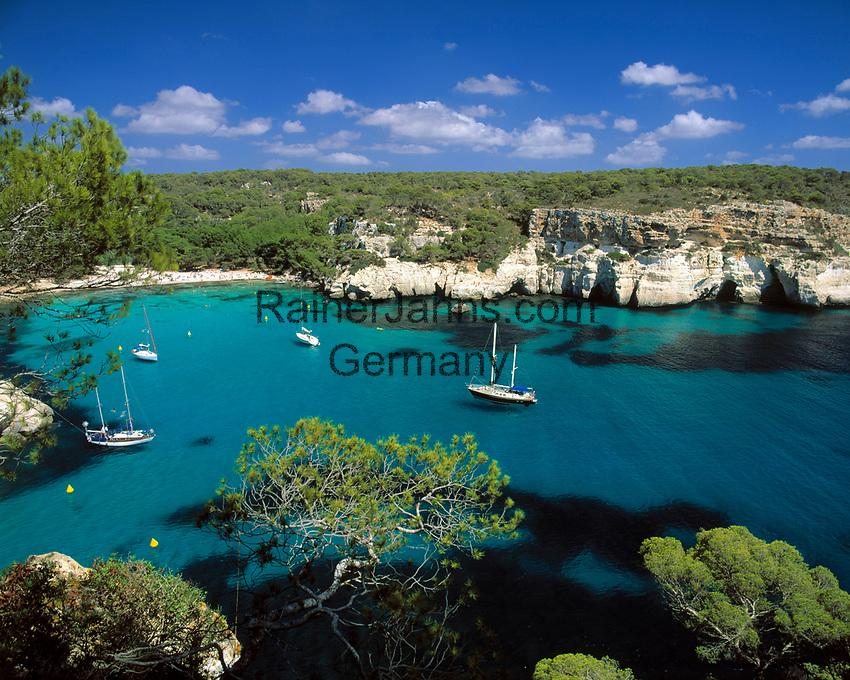 ESP, Spanien, Balearen, Menorca, Cala Macarella: paradiesische Badebucht im Sueden   ESP, Spain, Balearic Islands, Menorca, Cala Macarella: bay and beach in the south