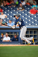 New Orleans Baby Cakes third baseman Matt Juengel (12) follows through on a swing during a game against the Nashville Sounds on April 30, 2017 at First Tennessee Park in Nashville, Tennessee.  The game was postponed due to inclement weather in the fourth inning.  (Mike Janes/Four Seam Images)