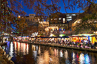 This is another image of the river walk in San Antonio of people enjoying the patio dining along the river at Christmas Time.  This shows what the SA cityscape is about.  Here instead of street image we have river walk scenes.