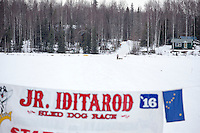 Rose Capistrant runs on the inbound trail towards the finish line of the 2016 Junior Iditarod in Willow, Alaska, AK  February 28, 2016
