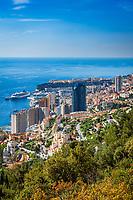 Fuerstentum Monaco, an der Côte d'Azur, Uebersicht   Principality of Monaco, on the French Riviera (Côte d'Azur), overview