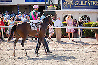 HALLANDALE BEACH, FL - FEBRUARY 04: #2 Tequilita ridden by Luis Saez after winning the Forward Gal Stakes (G2), at Gulfstream Park, Hallandale Beach, FL. (Photo by Arron Haggart/Eclipse Sportswire/Getty Images)