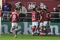 Jamie Patterson of Bristol City celebrates scoring their first goal during the Sky Bet Championship match between Bristol City and Reading at Ashton Gate, Bristol, England on 26 December 2017. Photo by Paul Paxford.