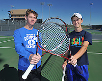 NWA Media/Michael Woods --10/15/2014-- w @NWAMICHAELW...Rogers tennis players Riley McGill (left) and Adam Breach are the 7A-West Conference doubles champions, a first for the Rogers boys tennis team in a decade.