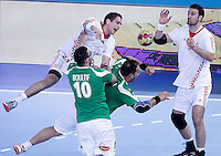 Algeria's Saci Boultif (2l) and Hichem Boudrali (2r) and Croatia's Stipe Mandalinic (l) and Igor Vori (r) during 23rd Men's Handball World Championship preliminary round match.January 14,2013. (ALTERPHOTOS/Acero) 7NortePhoto