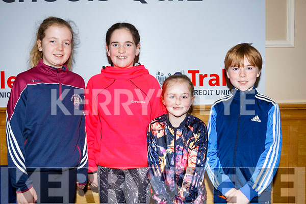 Students Molly Mahoney, Charlie O'Keeffe, Niamh O'Donnell and Ryan Murphy from Scartaglin National School, attending the annual Noreen Lynch Credit Union Quiz in the Brandon Hotel on Sunday last.