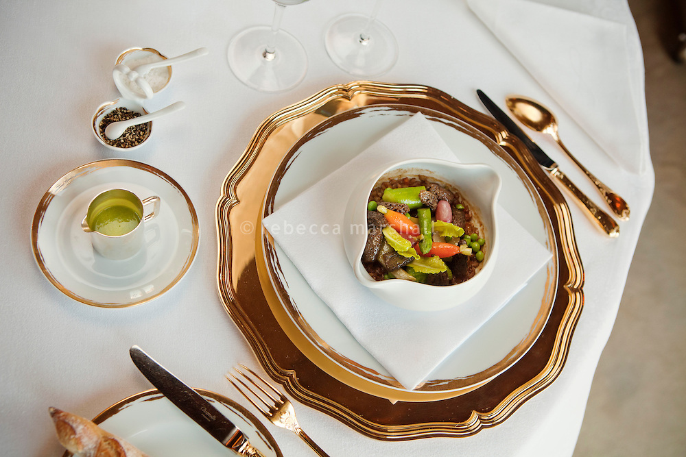 Cookpot prepared by chef Dominique Lory at the Louis XV restaurant at the Hotel de Paris, Monte Carlo, Monaco, 21 March 2013. Cookpot is the new spring 2013 signature dish of the Louis XV and consists of spelt from Haute Provence and morel mushrooms with seasonal vegetables.