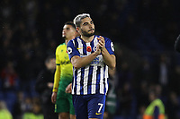 Neal Maupay of Brighton & Hove Albion applauds the fans at the end of the match during Brighton & Hove Albion vs Norwich City, Premier League Football at the American Express Community Stadium on 2nd November 2019