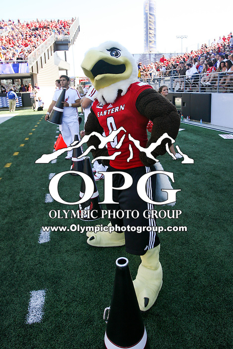 SEP 06, 2014: The Eastern Eagles Mascot Swoop was on hand for the game against Washington.  Washington defeated Eastern Washington 59-52 in Seattle Washington.