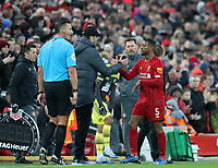 1st February 2020; Anfield, Liverpool, Merseyside, England; English Premier League Football, Liverpool versus Southampton; Liverpool manager Jurgen Klopp shakes hands with Georginio Wijnaldum of Liverpool as he is substituted off late in the match