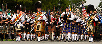 Bands march in during the 52nd Annual Grandfather Mountain Highland Games in Linville, NC.
