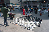 Giant Chess set in Union Square used by OwS to symbolize the power struggle of the 99%..Occupy Wall Street marches from Washington Square to Union Square to support Universal Single Payer Healthcare in New York State