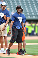 Orlando Hudson is introduced as the second baseman for the Celebrity Team before a game against the soldiers from Fort Jackson as part of the All Star Game festivities at Spirit Communications Park on June 19, 2017 in Columbia, South Carolina. The soldiers from Fort Jackson defeated the Celebrities 1-0. (Tony Farlow/Four Seam Images)
