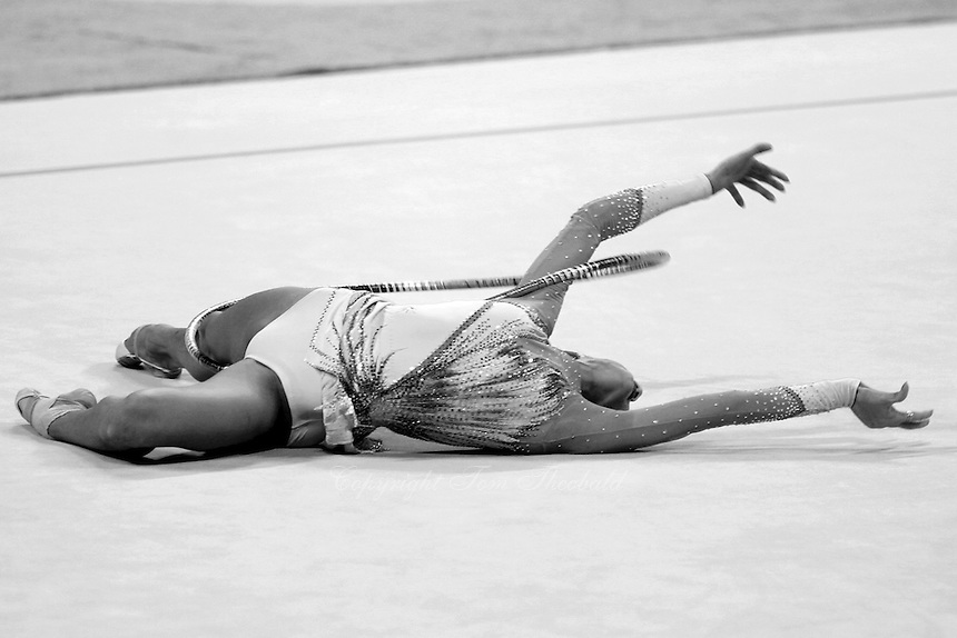 Irina Tchachina of Russia expresses with hoop during All-Around final at 2004 Athens Olympic Games on August 29, 2006 at Athens, Greece. Irina won silver in the All-Around final. (Photo by Tom Theobald)