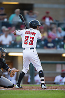 Miles Gordon (23) of the Billings Mustangs at bat against the Missoula Osprey at Dehler Park on August 21, 2017 in Billings, Montana.  The Osprey defeated the Mustangs 10-4.  (Brian Westerholt/Four Seam Images)