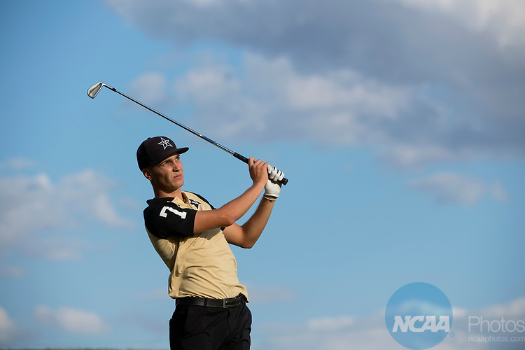 SUGAR GROVE, IL - MAY 29: Matthias Schwab of Vanderbilt University tees off during the Division I Men's Golf Individual Championship held at Rich Harvest Farms on May 29, 2017 in Sugar Grove, Illinois. Schwab tied for third place with a -6 score. (Photo by Jamie Schwaberow/NCAA Photos via Getty Images)
