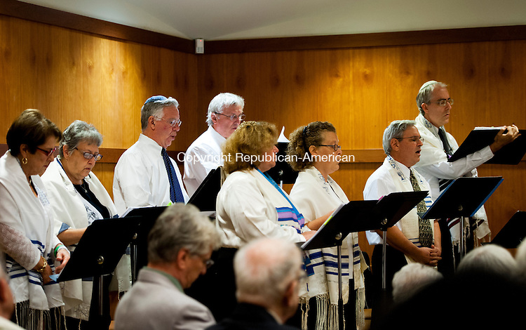 SOUTHBURY, CT - 4 September 2013-090413EC03--   A choir leads Rosh Hashanah services at B'nai Israel in Southbury Wednesday night. The two hour celebration is the start of three services for the congregation. The holiday, which marks the Jewish new year, began at sundown Wednesday night and lasts through Friday night. Erin Covey Republican-American.