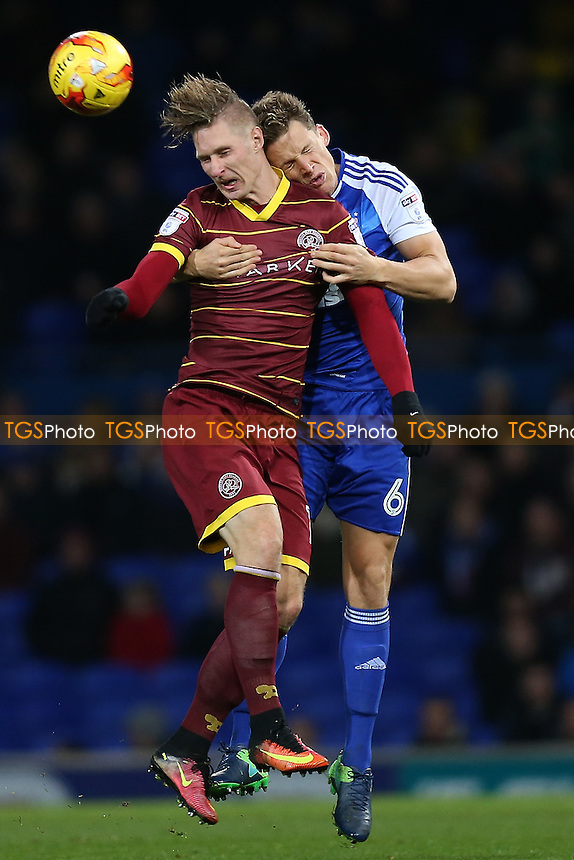 Sebastian Polter of QPR rises with Christophe Berra of Ipswich Town during Ipswich Town vs Queens Park Rangers, Sky Bet EFL Championship Football at Portman Road on 26th November 2016