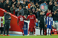 Sadio Mane of Liverpool is replaced by Divock Origi of Liverpool during the UEFA Champions League Quarter Final first leg match between Liverpool and Porto at Anfield on April 9th 2019 in Liverpool, England. (Photo by Daniel Chesterton/phcimages.com)<br /> Foto PHC/Insidefoto <br /> ITALY ONLY