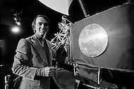 1979, Boston, Massachusetts, USA --- American scientist, astronomer, and science fiction writer Carl Sagan during a press conference at the Massachusetts Institute of Technology (MIT), about the Voyager Golden Records, which were included aboard both Voyager spacecrafts. --- Image by © JP Laffont