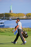 Jason Day (AUS) makes his way down 14 during round 2 Four-Ball of the 2017 President's Cup, Liberty National Golf Club, Jersey City, New Jersey, USA. 9/29/2017.<br /> Picture: Golffile | Ken Murray<br /> <br /> All photo usage must carry mandatory copyright credit (&copy; Golffile | Ken Murray)