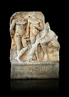Roman Sebasteion relief  sculpture of  Three Heroes and a Dog Aphrodisias Museum, Aphrodisias, Turkey.  Against a black background.<br /> <br /> Two heroes stand in front of a third hero who ia seated on a rock and pats the head of a bitch hound. They are hunters and the relief is partnered by the reliefs of Melager and Atalante and Meleaner and boar