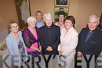 Fr Brendan O'Callaghan (centre), Knocanure parish priest who celebrated his Golden Jubilee last Thursday night with a mass in the local community centre. L-r: Margaret Carmody, Mary Fitzgerald, Liam Nolan, Fr Brendan O'Callaghan, Mary Kennelly, Eileen Kennelly and Fr Tom McMahon