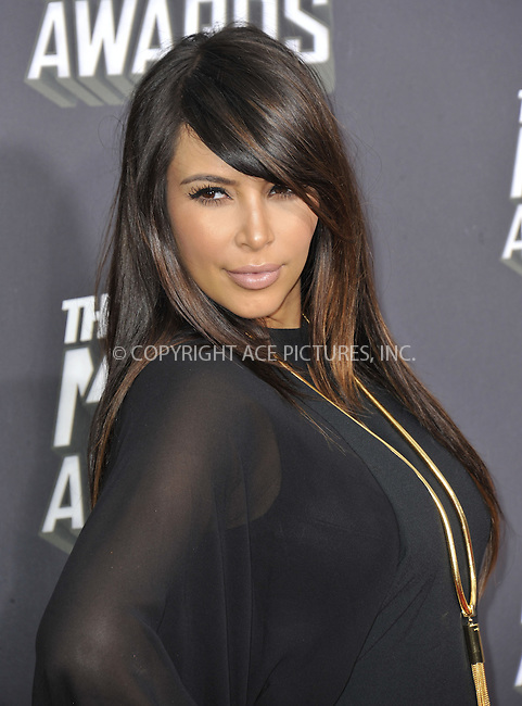 WWW.ACEPIXS.COM....April 14 2013, LA......Kim Kardashian arriving at the 2013 MTV Movie Awards at Sony Pictures Studios on April 14, 2013 in Culver City, California. ....By Line: Peter West/ACE Pictures......ACE Pictures, Inc...tel: 646 769 0430..Email: info@acepixs.com..www.acepixs.com