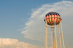 Red white and blue patriotic water tower