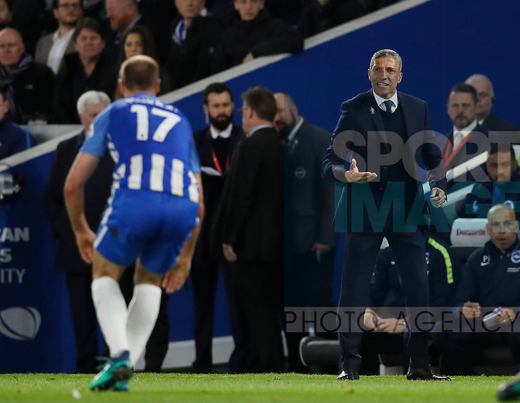 Chris Huyton Manager of Brighton instructs Glenn Murray of Brighton during the premier league match at the Amex Stadium, London. Picture date 17th April 2018. Picture credit should read: David Klein/Sportimage