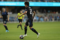 SAN JOSE, CA - AUGUST 24: Carlos Fierro #21 of the San Jose Earthquakes during a Major League Soccer (MLS) match between the San Jose Earthquakes and the Vancouver Whitecaps FC  on August 24, 2019 at Avaya Stadium in San Jose, California.