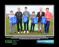 Newlands Golf Club boys With Kate Wright CGI and Brendan Byrne Bank of Ireland.<br /> Junior golfers from across Leinster practicing their skills at the regional finals of the Dubai Duty Free Irish Open Skills Challenge supported by Bank of Ireland at the Heritage Golf Club, Killinard, Co Laois. 2/04/2016.<br /> Picture: Golffile | Fran Caffrey<br /> <br /> <br /> All photo usage must carry mandatory copyright credit (© Golffile | Fran Caffrey)