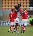 Mathias Pogba of Wrexham celebrates scoring with captain Dean Keates  during the Blue Square Bet Premier match between Cambridge United and Wrexham at the Abbey Stadium, Cambridge on 22nd January, 2011 .© Kevin Coleman 2011
