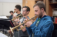 Jazz Ensemble rehearsal in Booth on Nov. 16, 2015.<br /> (Photo by Marc Campos, Occidental College Photographer)