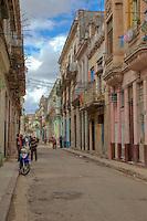 Cuba, Havana.  Old Havana Street Scene.
