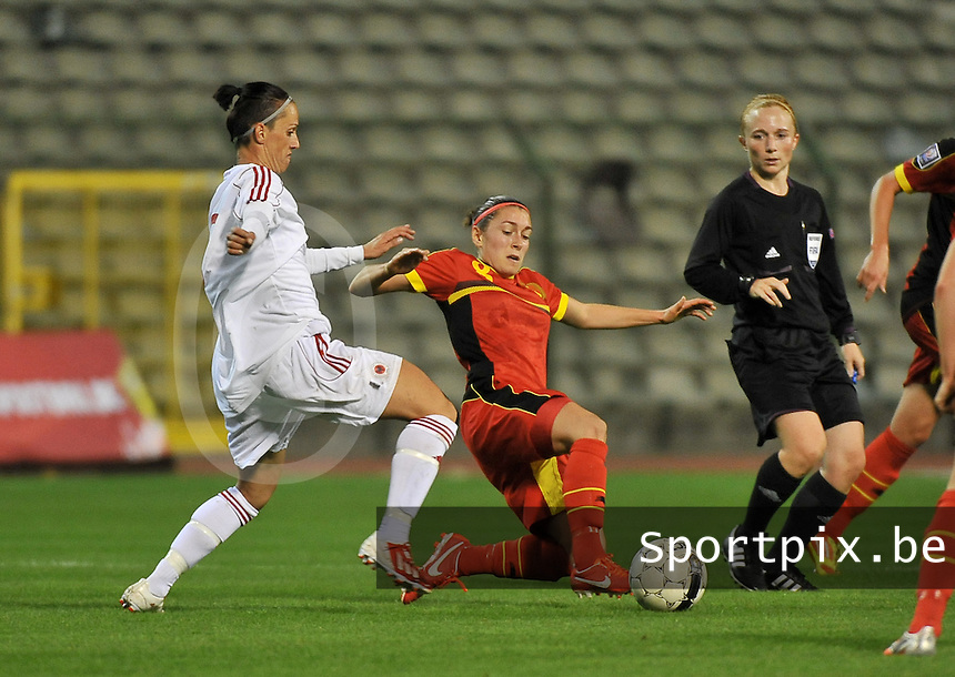 20130921 - BRUSSELS , BELGIUM : Belgian Audrey Demoustier(8) pictured with  Albanian Seranaj Aurora (left) during the female soccer match between Belgium and Albania , on the first matchday in group 5 of the UEFA qualifying round to the FIFA Women World Cup in Canada 2015 at the Koning Boudewijn Stadion , Brussels . Saturday 21th September 2013. PHOTO DAVID CATRY