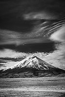 Black and white photo of Cotopaxi Volcano 5,897m summit, Cotopaxi National Park, Cotopaxi Province, Ecuador
