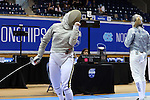 DURHAM, NC - FEBRUARY 25: Notre Dame's Francesca Russo (left) reacts after scoring a point against Duke's Lindsay Sapienza (right) during the Women's Saber championship match. The Atlantic Coast Conference Fencing Championships were held on February, 25, 2017, at Cameron Indoor Stadium in Durham, NC.